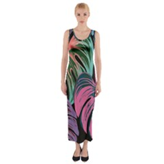 Leaves Tropical Jungle Pattern Fitted Maxi Dress