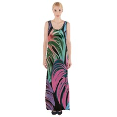 Leaves Tropical Jungle Pattern Maxi Thigh Split Dress