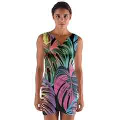 Leaves Tropical Jungle Pattern Wrap Front Bodycon Dress