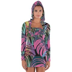 Leaves Tropical Jungle Pattern Long Sleeve Hooded T Shirt