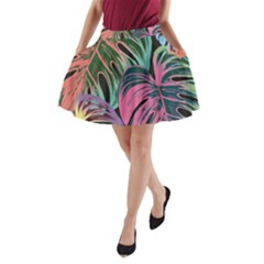 Leaves Tropical Jungle Pattern A Line Pocket Skirt