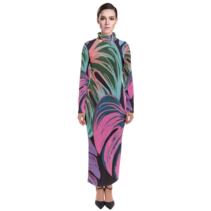 Leaves Tropical Jungle Pattern Turtleneck Maxi Dress