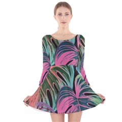 Leaves Tropical Jungle Pattern Long Sleeve Velvet Skater Dress