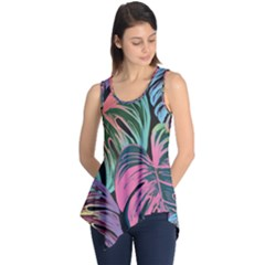Leaves Tropical Jungle Pattern Sleeveless Tunic