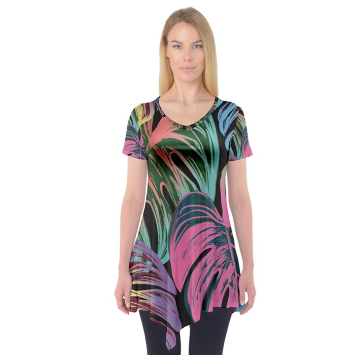 Leaves Tropical Jungle Pattern Short Sleeve Tunic