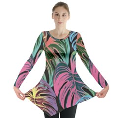 Leaves Tropical Jungle Pattern Long Sleeve Tunic