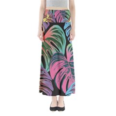 Leaves Tropical Jungle Pattern Full Length Maxi Skirt