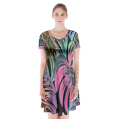 Leaves Tropical Jungle Pattern Short Sleeve V Neck Flare Dress