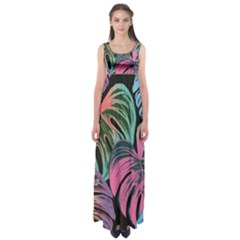 Leaves Tropical Jungle Pattern Empire Waist Maxi Dress
