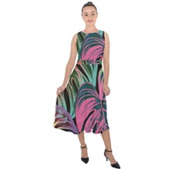Leaves Tropical Jungle Pattern Midi Tie Back Chiffon Dress