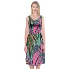 Leaves Tropical Jungle Pattern Midi Sleeveless Dress