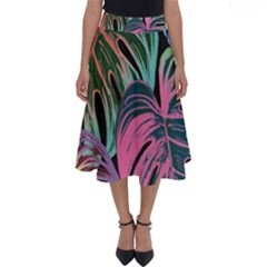 Leaves Tropical Jungle Pattern Perfect Length Midi Skirt