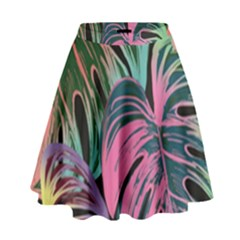 Leaves Tropical Jungle Pattern High Waist Skirt
