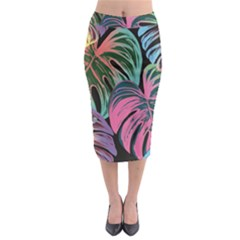 Leaves Tropical Jungle Pattern Midi Pencil Skirt