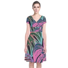 Leaves Tropical Jungle Pattern Short Sleeve Front Wrap Dress