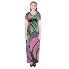 Leaves Tropical Jungle Pattern Short Sleeve Maxi Dress