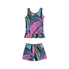Leaves Tropical Jungle Pattern Kid s Boyleg Swimsuit