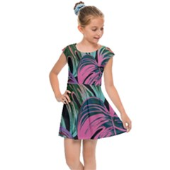 Leaves Tropical Jungle Pattern Kids Cap Sleeve Dress