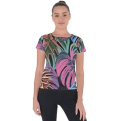 Leaves Tropical Jungle Pattern Short Sleeve Sports Top