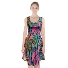 Leaves Tropical Jungle Pattern Racerback Midi Dress