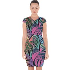 Leaves Tropical Jungle Pattern Capsleeve Drawstring Dress