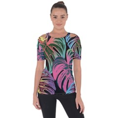 Leaves Tropical Jungle Pattern Shoulder Cut Out Short Sleeve Top
