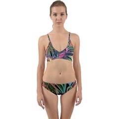 Leaves Tropical Jungle Pattern Wrap Around Bikini Set