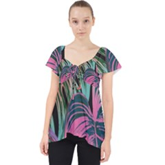 Leaves Tropical Jungle Pattern Lace Front Dolly Top