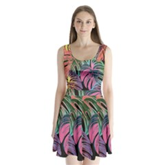 Leaves Tropical Jungle Pattern Split Back Mini Dress