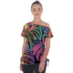 Leaves Tropical Jungle Pattern Tie Up Tee