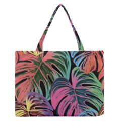 Leaves Tropical Jungle Pattern Zipper Medium Tote Bag