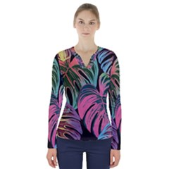 Leaves Tropical Jungle Pattern V Neck Long Sleeve Top