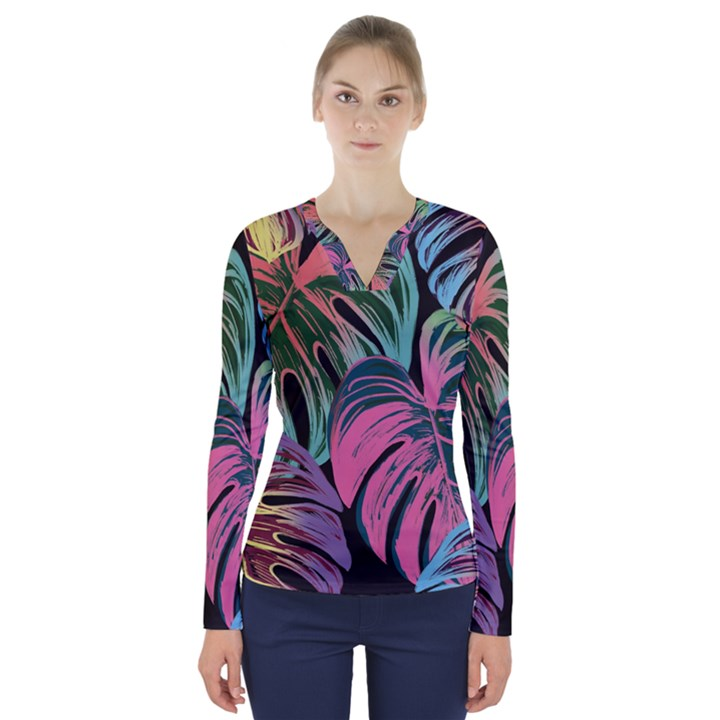 Leaves Tropical Jungle Pattern V-Neck Long Sleeve Top