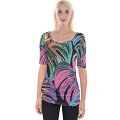 Leaves Tropical Jungle Pattern Wide Neckline Tee