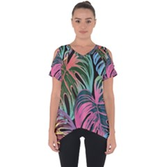 Leaves Tropical Jungle Pattern Cut Out Side Drop Tee