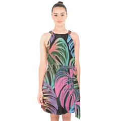 Leaves Tropical Jungle Pattern Halter Collar Waist Tie Chiffon Dress by Nexatart