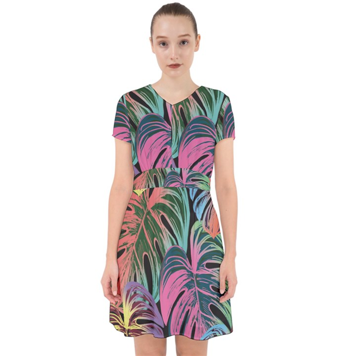 Leaves Tropical Jungle Pattern Adorable in Chiffon Dress