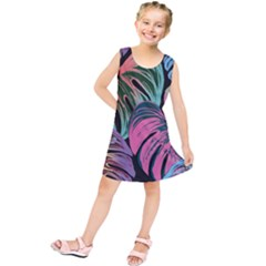 Leaves Tropical Jungle Pattern Kids  Tunic Dress