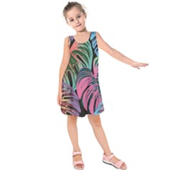 Leaves Tropical Jungle Pattern Kids  Sleeveless Dress