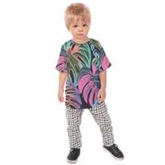 Leaves Tropical Jungle Pattern Kids Raglan Tee
