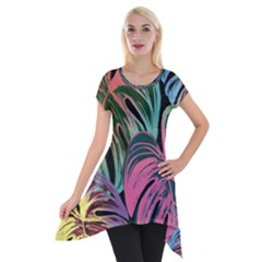 Leaves Tropical Jungle Pattern Short Sleeve Side Drop Tunic