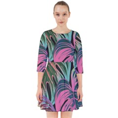 Leaves Tropical Jungle Pattern Smock Dress