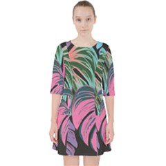 Leaves Tropical Jungle Pattern Pocket Dress