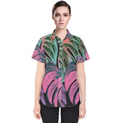 Leaves Tropical Jungle Pattern Women s Short Sleeve Shirt
