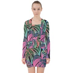 Leaves Tropical Jungle Pattern V Neck Bodycon Long Sleeve Dress