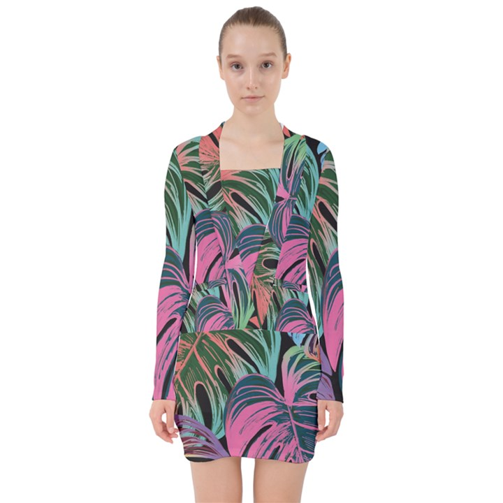 Leaves Tropical Jungle Pattern V-neck Bodycon Long Sleeve Dress