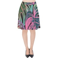 Leaves Tropical Jungle Pattern Velvet High Waist Skirt