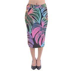 Leaves Tropical Jungle Pattern Velvet Midi Pencil Skirt