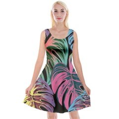 Leaves Tropical Jungle Pattern Reversible Velvet Sleeveless Dress