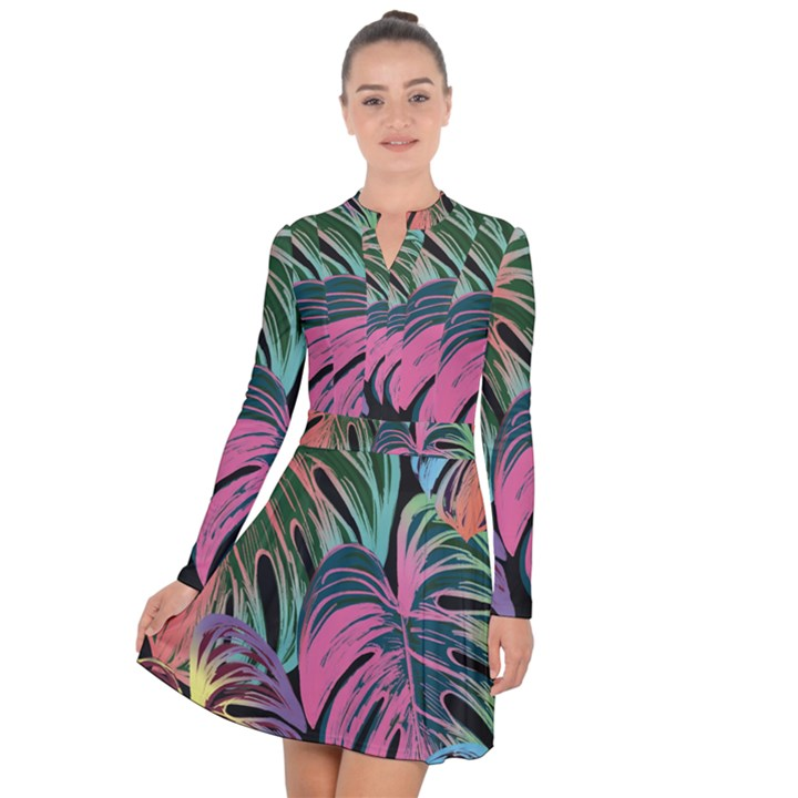 Leaves Tropical Jungle Pattern Long Sleeve Panel Dress